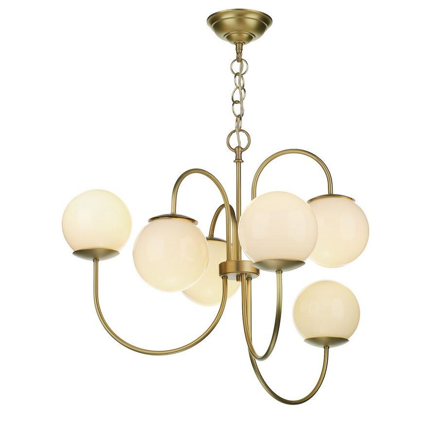 Brushed Brass & Opal 6 Globe Pendant - ID 10160