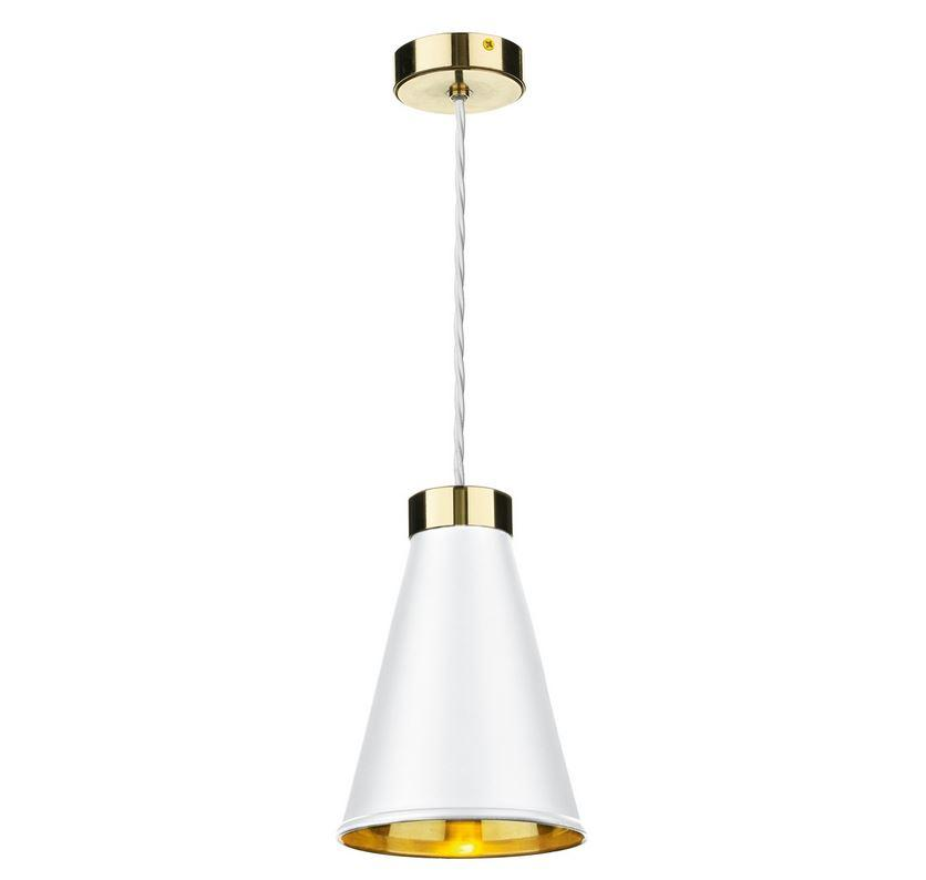 Hyde 1 Brass and White Single Pendant - ID 10050