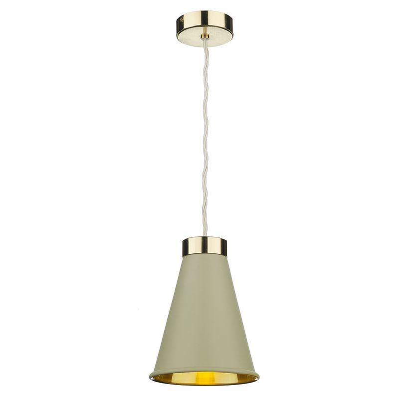 Hyde 1 Brass and Pebble Single Pendant - ID 10051