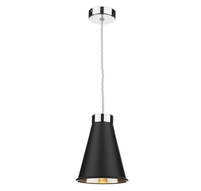 Hyde 1 Chrome and Black Single Pendant - ID 10055