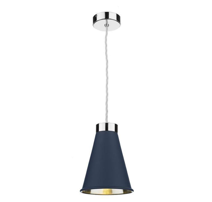 Hyde 1 Chrome and Blue Single Pendant - ID 10056