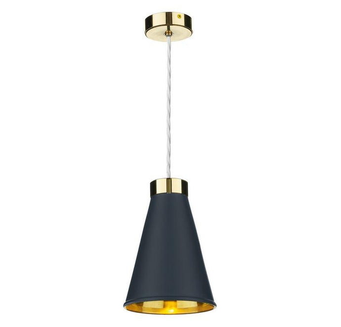 Hyde 1 Brass and Blue Single Pendant - ID 10053
