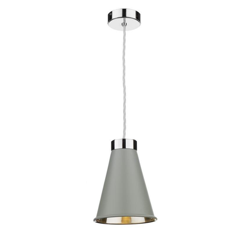 Hyde 1 Chrome and Grey Single Pendant - ID 10057