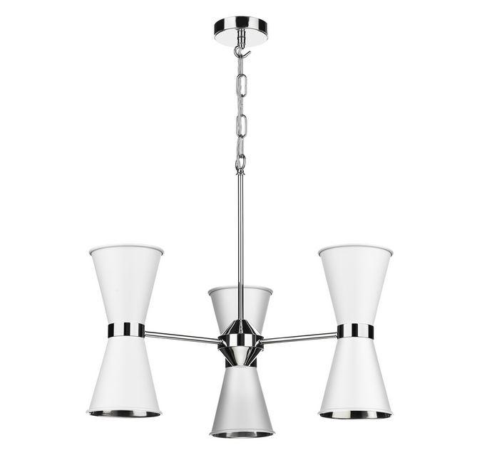 Hyde Chrome and White Up and Downlight 6 Light Pendant/Semi Flush - ID 10046