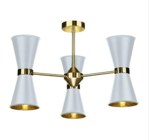 Hyde Brass and White Up and Downlight 6 Light Pendant/Semi Flush - ID 10045