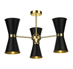 Hyde Brass and Black Up and Downlight 6 Light Pendant/Semi Flush - ID 10043