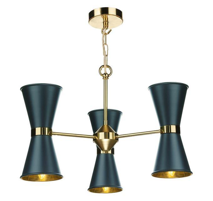 Hyde Brass and Blue Up and Downlight 6 Light Pendant/Semi Flush - ID 10044