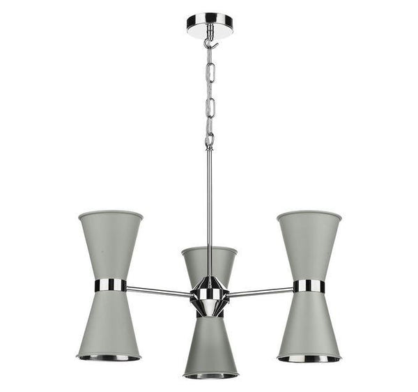 Hyde Chrome and Grey Up and Downlight 6 Light Pendant/Semi Flush - ID 10049