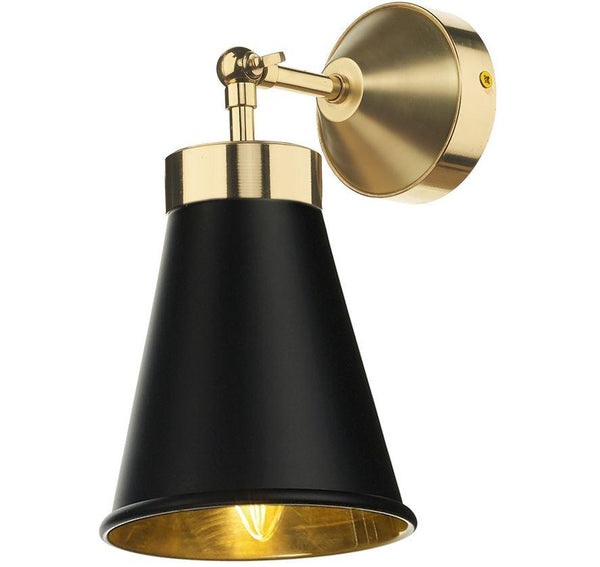 Hyde Brass and Black Single Wall Light - ID 9675