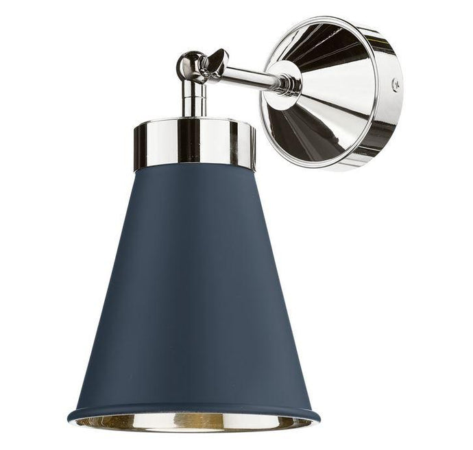 Hyde Chrome and Blue Single Wall Light - ID 10115