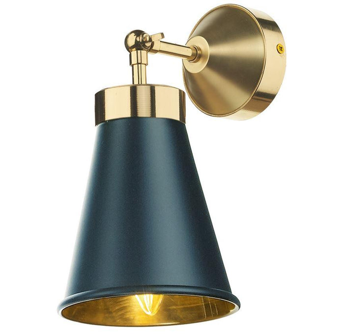 Hyde Brass and Smoke Blue Single Wall Light - ID 7872