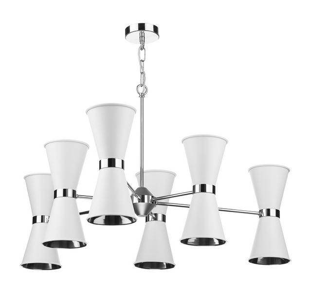 Hyde Chrome and White Up and Downlight 12 Light Pendant - ID 10041