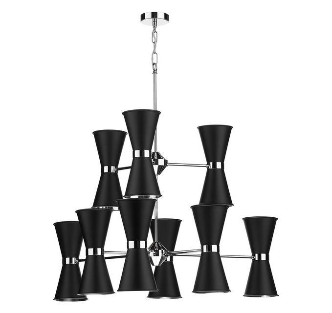 Hyde Chrome and Black Up and Downlight 18 Light Pendant - ID 10039