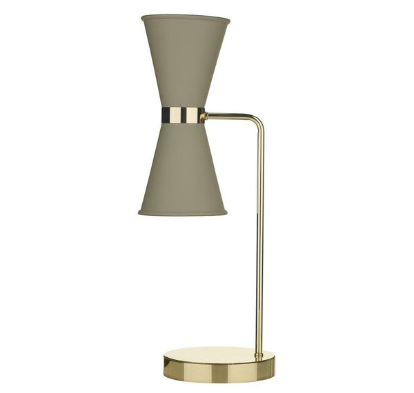 Hyde Brass and Pebble (Neutral) Double Table Light - ID 10125