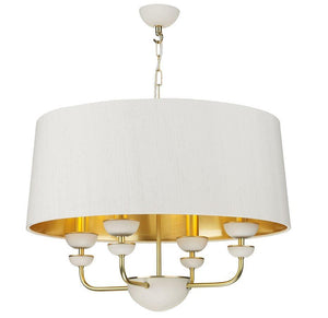 Lunar Brass & Ivory Silk & Gold Shade Pendant (With Shade Colour Options) - ID 10172