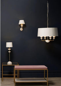 Lunar Brass/Ivory & Navy/Gold Shade Wall Light (other shade colours available) - ID 10174