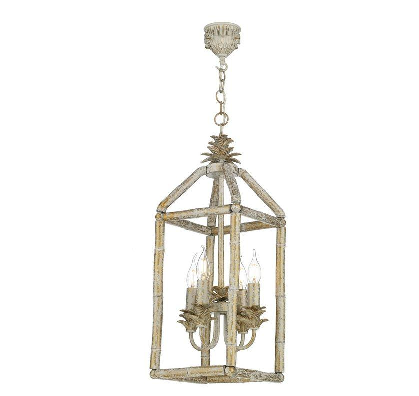 Pagoda Crackle Gold/Cream Bamboo Lantern Pendant - ID 10177