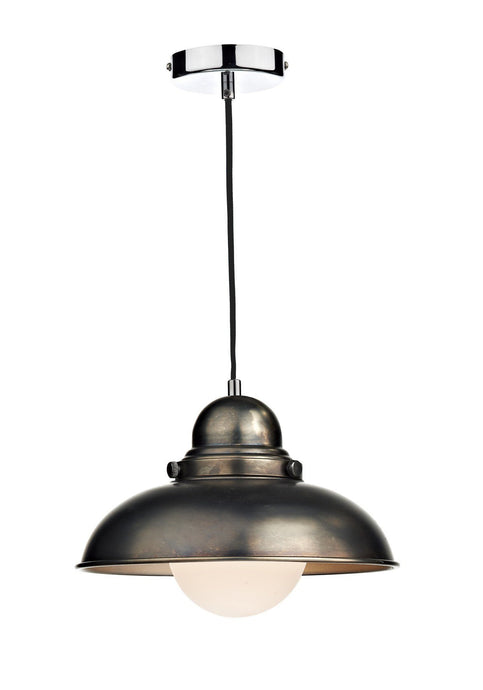 Dynamo Antique Chrome Suspended Ceiling Light - London Lighting - 1