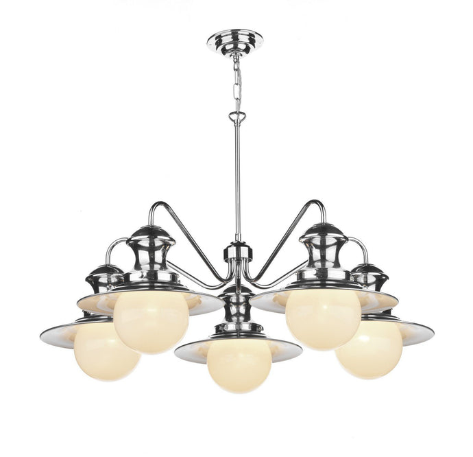Station 5 Lamp Chandelier  in Chrome - London Lighting - 1