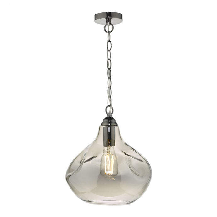 Angrave Smoked Glass & Black Chrome Pendant - ID 9438