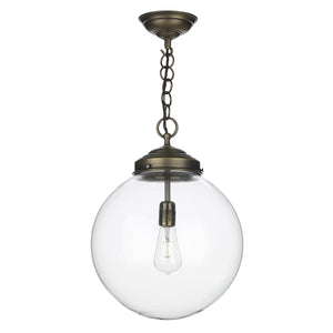Antique Brass Clear Globe Pendant - ID 6043