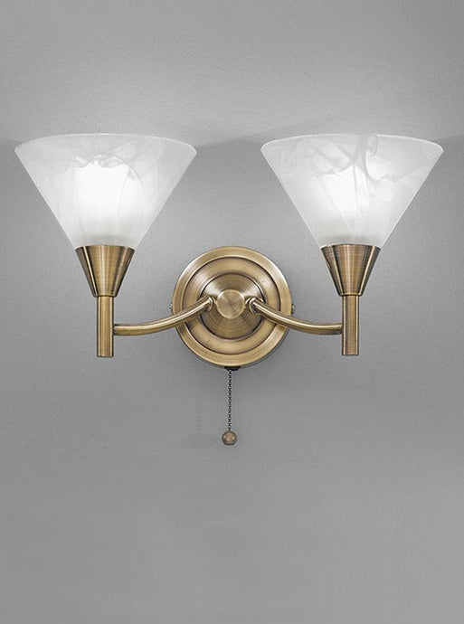 Keiss 2 Light Wall Bracket In Bronze finish with alabaster effect glasses - ID 1880
