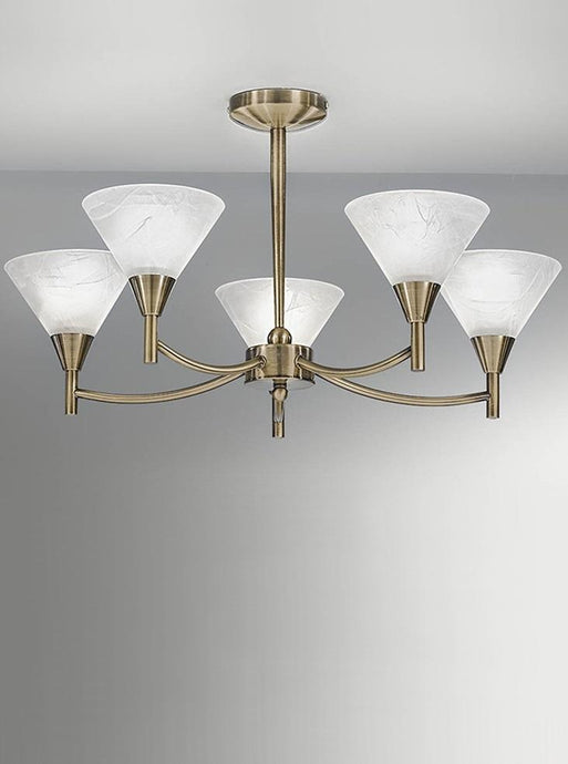 Keiss 5 Light Ceiling Light In Bronze finish with alabaster effect glasses - ID 1879