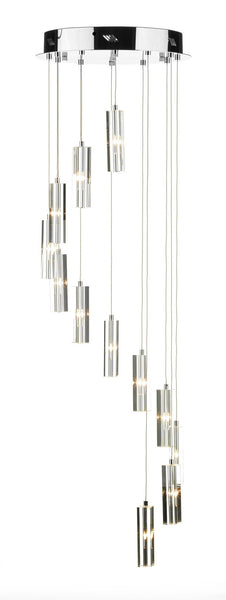 Galileo Chrome 12 Lamp Ceiling Pendant - London Lighting - 1