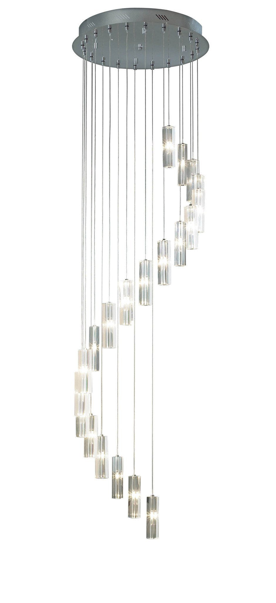 Galileo Chrome 20 Lamp Ceiling Pendant - London Lighting - 1