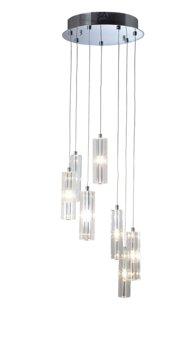 Galileo Chrome 7 Lamp Ceiling Pendant - London Lighting - 1