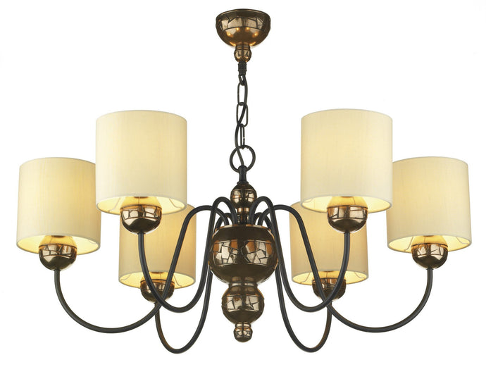 Garbo Bronze & Cream 6 Lamp Chandelier - London Lighting - 1