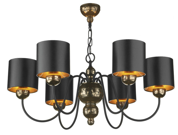 Garbo Bronze & Black 6 Lamp Chandelier - London Lighting - 1