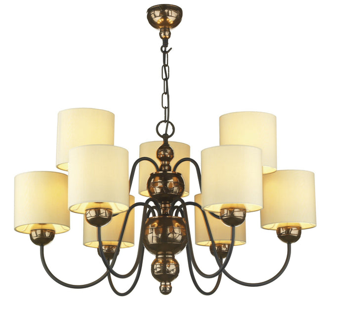 Garbo Bronze & Cream 9 Lamp Chandelier - London Lighting - 1