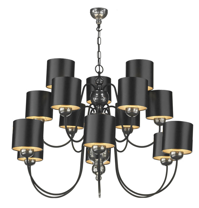 Garbo Pewter & Black 15 Lamp Chandelier - London Lighting - 1