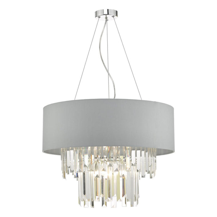 6 Light Crystal Pendant With Satin Grey Shade - ID 9479