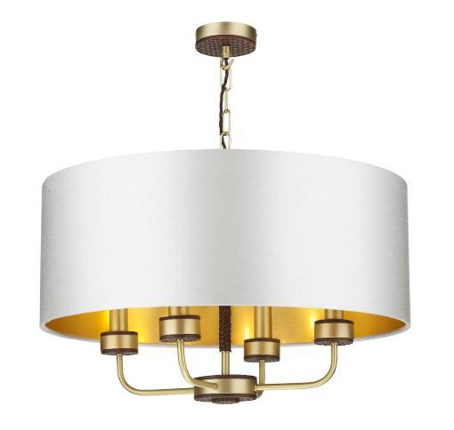 Hunter 4 Light Brass & Brown Pendant With Swan (Light Grey) & Gold Shade (Shade Colour Options Available) - ID 10271