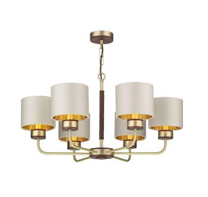 Hunter 6 Light Brass & Brown Pendant With Limestone & Gold Shade (Shade Colour Options Available) - ID 10272