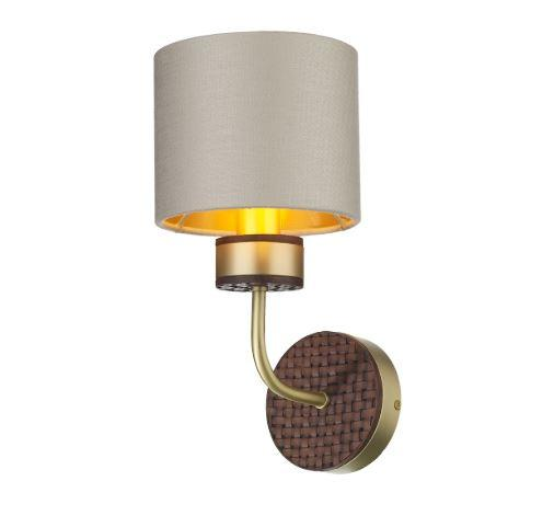 Hunter Brass & Brown Wall Light With Limestone & Gold Linen Shade (Shade Colour Options Available) - ID 10273