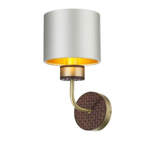 Hunter Brass & Brown Wall Light With Swan & Gold Satin Shade (Shade Colour Options Available) - ID 10274