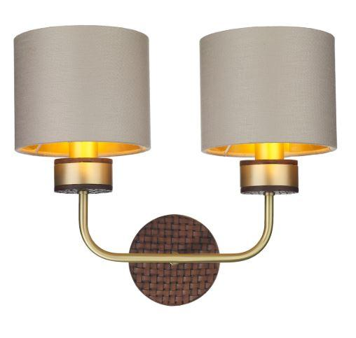 Hunter Brass & Brown Double Wall Light With Limestone & Gold Linen Shades (Shade Colour Options Available) - ID 10275