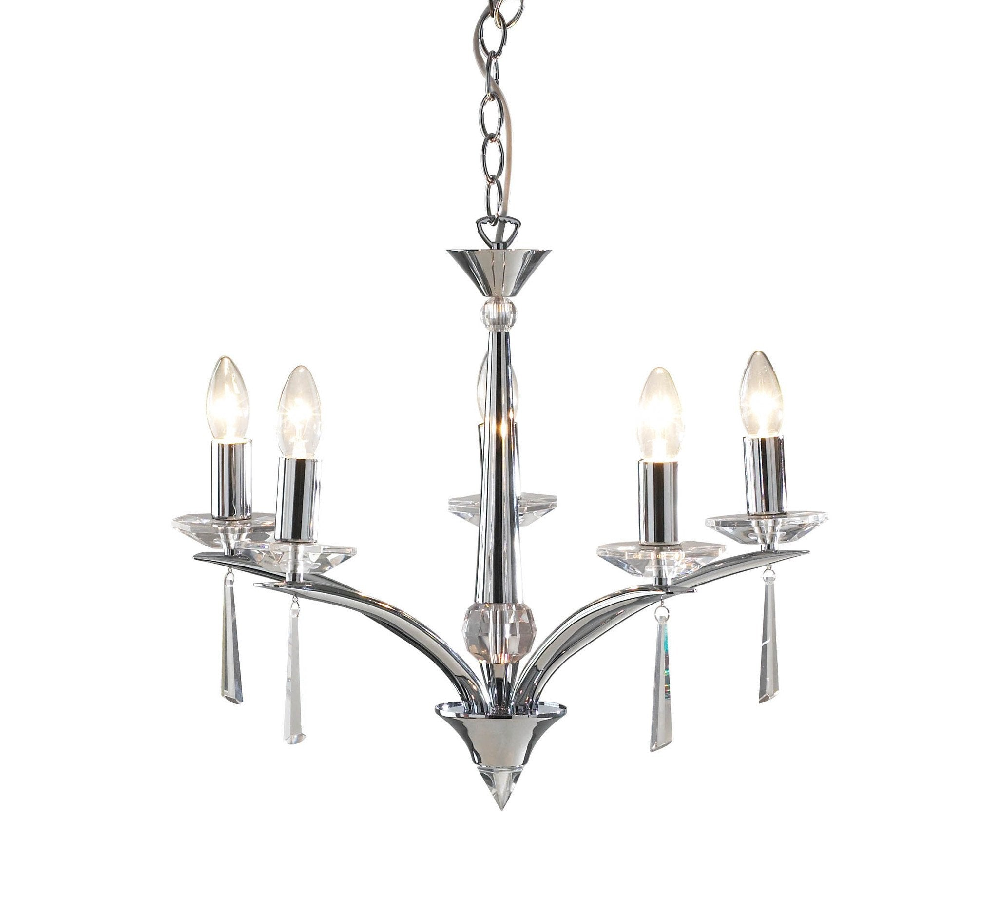 Hyperion Polished Chrome 5 Lamp Chandelier - London Lighting - 1
