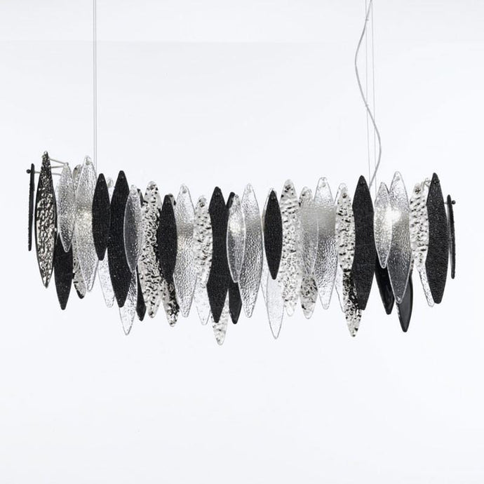 Ice Rain Large Long Murano Glass Chandelier