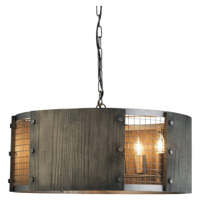 Acorn rustic aged wood & mesh cylindrical pendant ID 9259