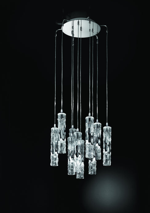 Becton Murano Glass 10 Light Ceiling Suspension Chandelier - ID 5028