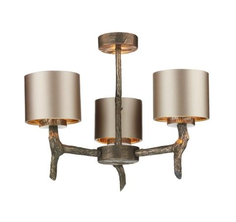 Joshua Bronze 3 Light Pendant with Almond Cream Satin Shades (other shade colours available) - ID 10258
