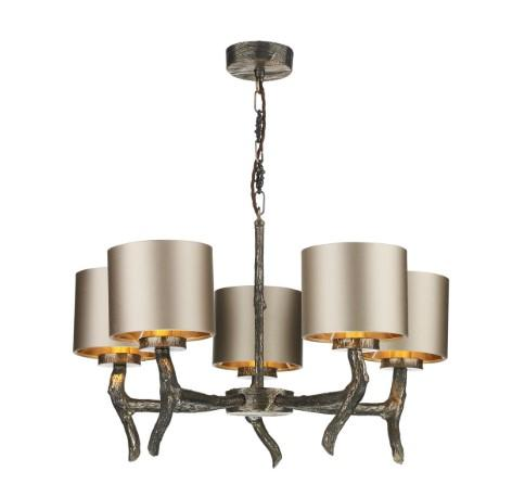 Joshua Bronze 5 Light Pendant with Almond Cream Satin Shades (other shade colours available) - ID 10259