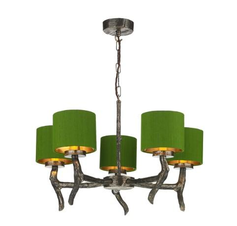 Joshua Bronze 5 Light Pendant with Olive Green Silk Shades (other shade colours available) - ID 10260