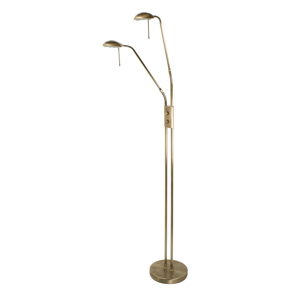 Thurso Twin Head Floor Lamp In Antique Brass - ID 9421
