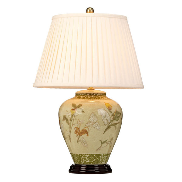 Archway Porcelain Green and Cream Table Lamp c/w shade - ID 8000