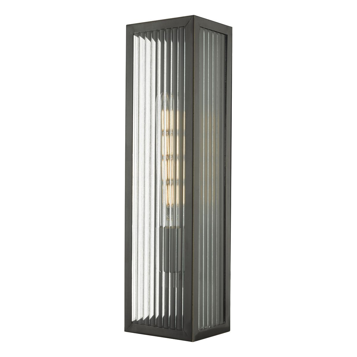 cheap for discount b91fb bd0c0 Halcrow Rubbed Bronze & Ribbed Glass Large Outdoor Wall Light - ID 9281